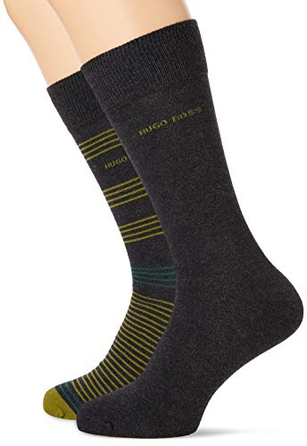 BOSS Herren 2P RS Stripe CC Klassische Socken, Charcoal12, 43-46