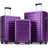 Flieks Luggage Sets 3 Piece Spinner Suitcase with TSA Lock Lightweight 20 24 28 inch (Purple)