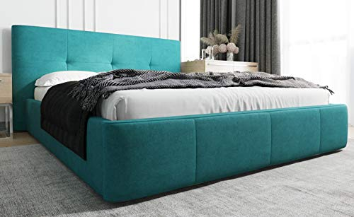 MG Home Polsterbett Bettkasten Lattenroste Doppelbett 4 Größen Venti Türkis (Türkis Azur, 200 x 200 cm)
