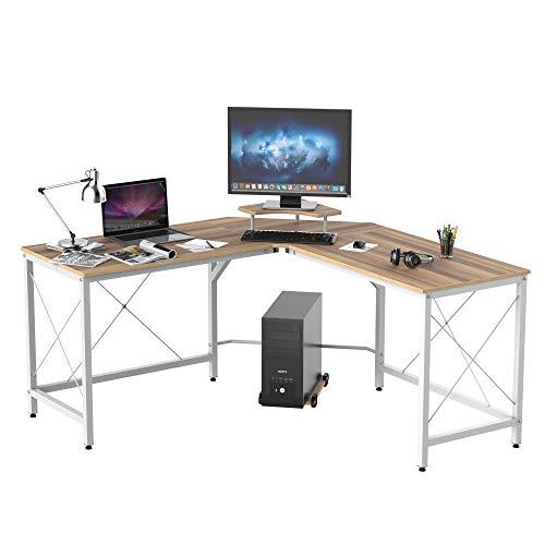 HOMCOM Mesa de Escritorio en Forma de L Escritorio de Ordenador con Soporte de Monitor Estante Independiente para Torre y Estructura con Refuerzo en X 150x150x76 cm Color Madera y Blanco