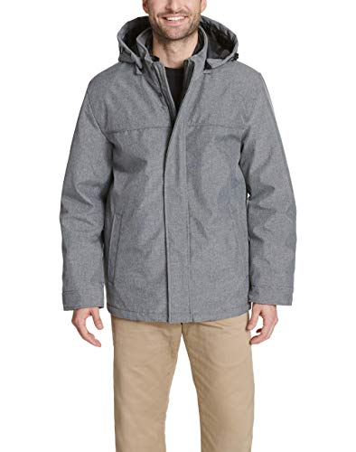 Dockers Men's 3-in-1 Hooded Soft Shell Systems Jacket, Heather Grey, Medium