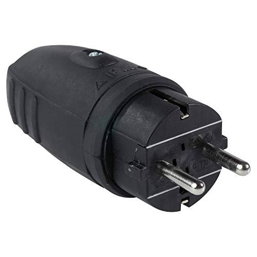 as - Schwabe Gummi-Stecker 230 V / 16 A ohne Kabel – Schuko-Stecker mit doppeltem Schutzkontakt – Schutzkontakt-Stecker für den Außenbereich – IP 44 – Made in Germany – Schwarz I 60410