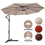 Patio Umbrella,Toolsempire10ft Cantilever Offset Umbrella Outdoor Market Hanging Umbrellas with Crank&Cross Base for Garden Deck Pool Patio Beach,Beige