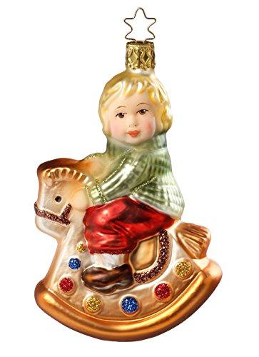 Inge-Glas Manufaktur con la coronina a forma di stella di Natale, bambino su cavallo a dondolo, 12,5 cm, decorazione per albero di Natale