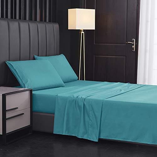 HAIBA Sábanas bajeras de tinte liso súper suave y cálidas térmicas y acogedoras sábanas de cama - doble, California King (4 piezas)
