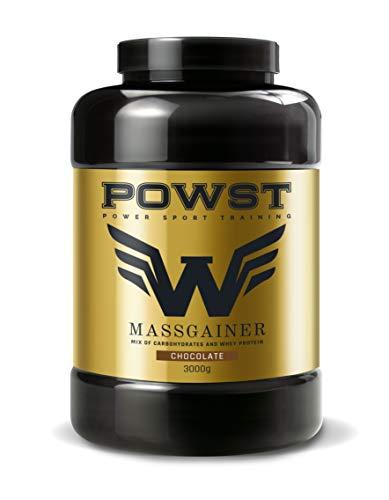 Estimulador Muscular, Suplemento Deportivo para Aumento de Masa Muscular con BCAA aminoacidos, Vitaminas y Minerales 3Kg (Sabor Chocolate) Ganador de Peso, Mass Gainer POWST