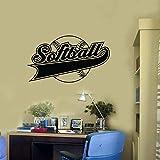 Tianpengyuanshuai Softball Wall Decal Ball Logo Word Stadium Stadium Decoration Home Art Vinyl Wall Sticker Removable 68X38cm