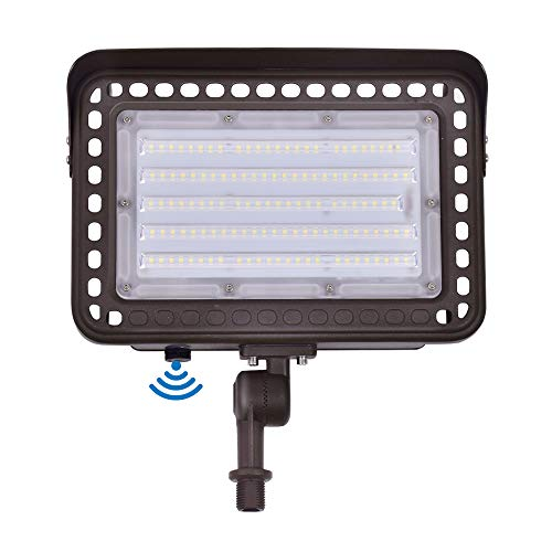 LED Outdoor Flood Light with Knuckle Mount, Dusk-to-Dawn Photocell Sensor, 100W (1000W Eqv.) AC100-277V 12,000Lms 5000K Daylight, CRI90+, IP65 Waterproof for Wall Light Security Backyard Area