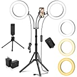 Dual 8' Ring Light with Stand and 2 Phone Holders (Equals One 14' Ring Light), LED Light Ring for Vlog/Makeup/YouTube/Video Shooting, 2 Adapters & Remote, Compatible with iPhone & Android