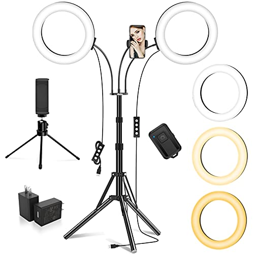 """Dual 8"""" Ring Light with Stand and 2 Phone Holders (Equals One 14"""" Ring Light), LED Light Ring for Vlog/Makeup/YouTube/Video Shooting, 2 Adapters & Remote, Compatible with iPhone & Android"""