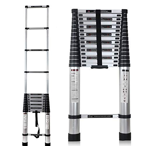 Corvids 6.2m (20.5 ft) Portable & Compact Aluminium Telescopic Ladder, EN131 Certified, 16-Steps Foldable Multipurpose Collapsible Ladder for Home & Outdoor use