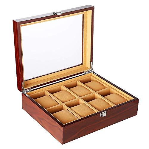 QCSMegy Organizador de Caja de Reloj de 8 Ranuras, Caja de colección de Relojes de Madera para Regalo de Hombres y Mujeres, Vitrina de Relojes con Tapa de Vidrio, Forro de Terciopelo, Cierre de
