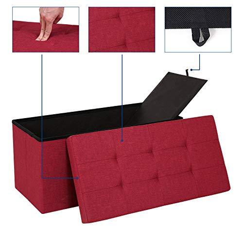 SONGMICS Sitzbank mit Stauraum, Truhe mit Deckel, faltbares Sitzmöbel, Bett, Schlafzimmer, Flur, platzsparend, 80L Fassungsvermögen, stabil bis 300 kg, gepolstert, rot LSF47RD - 7