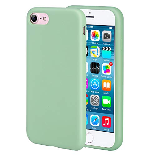 "iPhone 7 case iPhone 8 Silicone Case Liquid Silicone Protective Case Lightweight Slim Cases Drop Proof Daily Use Supports Wireless Charging for iPhone 7/8 4.7"" Green"
