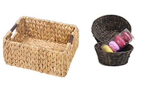 FABI Opbergmand van waterhyacint met houten handvat in natuur + 2 ronde manden in bruin, opbergrepen, rond, opbergen, decoratieve schaal, plankbewaren, bewaarmand, rekmand