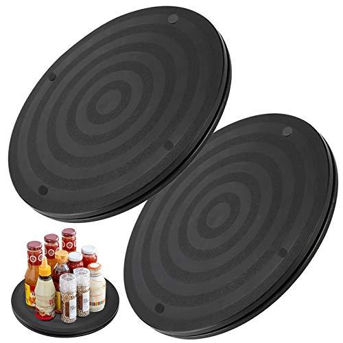 2 Pz Tocadiscos Rotación de 360° Plataforma Giratoria Multiusos Superficie de Doble Textura, para Monitor, Laptops, Utensilios de Cocina, Proyectos de Manualidades, Plantas Bonsai—Negro, Redondas