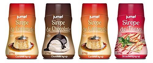 Pack de 4 unidades de Sirope JUMEL sin gluten multisabor fresa, caramelo y chocolate. Formato antigoteo en botellas de 275g.