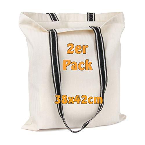 Designer-Einkaufstasche mit stylischen Henkeln | Fischgrät-Design, Baumwolltasche, Jutebeutel (2 Stück)