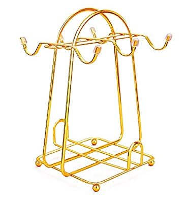 Stainless Steel Wire Rack Display Stand Service for Tea Cups,Bracket,Gold metal stand for coffee cups and saucers.