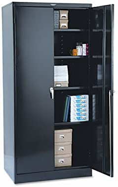 Tennsco 36 by 24 by 78-Inch Deluxe Steel Storage Cabinet with 4 Adjustable Shelves, Black