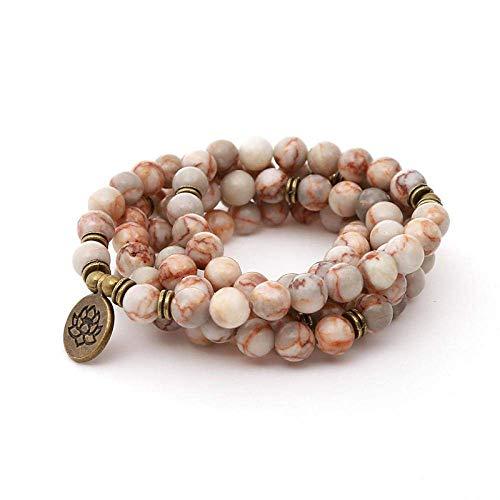 ZLININ Y-longhair Bracelet 108 Handmade Beaded Men'S Women'S Necklace Stone Lotus Pendant Simple Personality Jewelry Retro