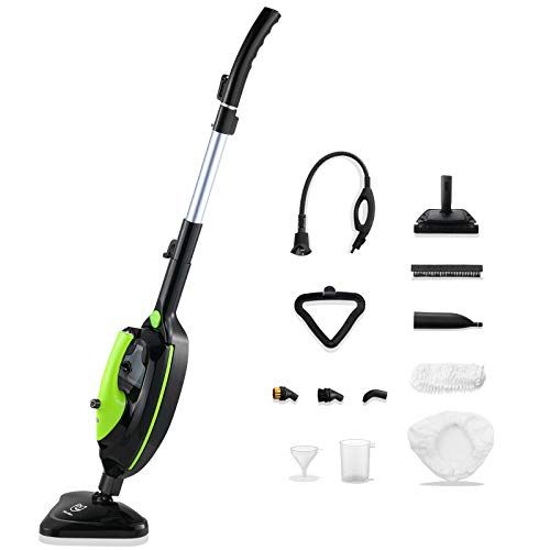 Moolan Steam Mop 12 in 1 Steam Cleaner with Detachable Handheld Unit, Floor Steamer for Tile, Hardwood, Laminate, Carpet, Multifunctional Whole House Steamer, Green
