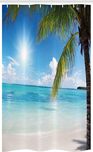 ABAKUHAUS Strand Schmaler Duschvorhang, Tropical Seashore Palms, Badezimmer Deko Set aus Stoff mit Haken, 120 x 180 cm, Farngrün Himmelblau