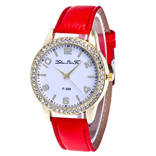 LABIUO Damenuhr Mode Analog Quarz Diamant PU Lederband Armbanduhr(rot,Einheitsgröße)