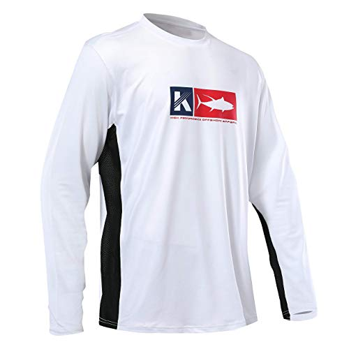 Performance Fishing Shirt Vented Long Sleeve Shirt Sun Protection UPF50 Moisture Wicking Rash Guard with Mesh Sides Loose Fit, White,Large