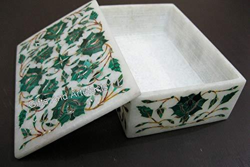 Caja de joyería de mármol de 6 pulgadas con diseño de artesanía india