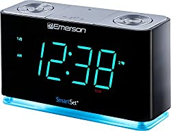 commercial With Emerson SmartSet clock radio, Bluetooth speaker, charging station / phone charger … satellite radio speakers