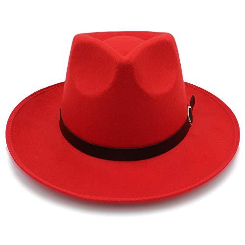 HUANRUOBAIHUO-HAT Cappelli Moda, cappelli, cappelli eleganti, cappel Hut Mode Unisex Womem Männer Klassische Breite Krempe Sonnenhut Feodora Hüte Panama Cap (Farbe : Rot, Größe : 56-58CM)