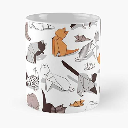 Illustrations - Taza de café de cerámica con diseño de gato, color marrón, gris, diseño de gatos y gatos