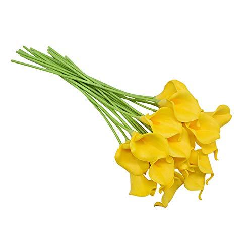 FSYX Flor Artificial Flor Artificial PU Calla Lily Ramo de Flores Decoración de la Boda Flor Falsa Decoración del hogar Planta ArtificialAmarillo