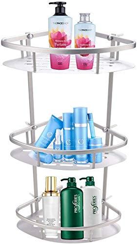 3 Etagen Badezimmer Eckregal, DIY Badezimmer-Eckregal Duschregal, Edelstahl Badezimmer Wandhalterung mit 2 Haken für Badezimmer, Küche