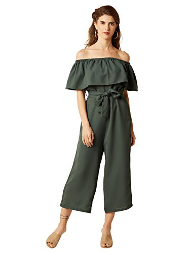 Miss Chase Women's Green Off-Shoulder Tie-Up Midi Jumpsuit