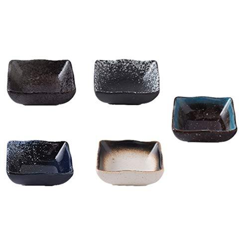 BESTonZON Set di 5 ciotole per immersione, piatti di salsa giapponese di soia, piatti da sushi in ceramica (colore casuale)