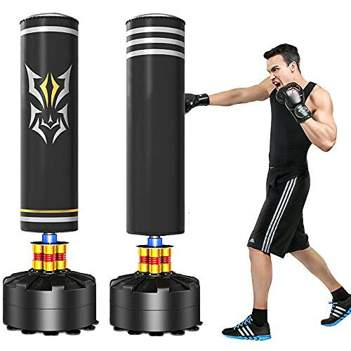 Heavy Boxing Punching Bag Set - Free Standing Cardio Training Kickboxing Adult MMA • Love Modern (Black)