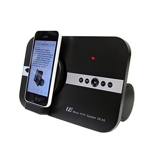 10 Watt Micro Soundsystem für Apple iphone X Xs Xr iphone SE 5 5S 6 6S 7 8 Plus ipod Touch iPad Pro mini Air Musik Video 8-PIN Schnittstelle & Bluetooth Lautsprecher Soundsystem Fernbedienung schwarz