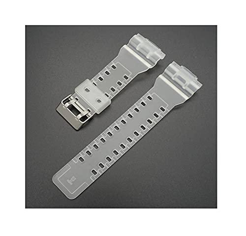 YQSBYI 16mm TPU Watchband pour GA-110 GA-100 GD-100 Hommes Sports Sports Étanche Bracelet Bracelet Bande Strap Red Watch Accessoires (Band Color : Half Transparent, Band Width : 16mm)