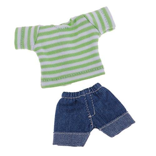 Baoblaze Hübsche Puppe gestreifte T-Shirt & Jeans Hose Bekleidung Für 1/12 BJD Modepuppe Zubehör - Grün