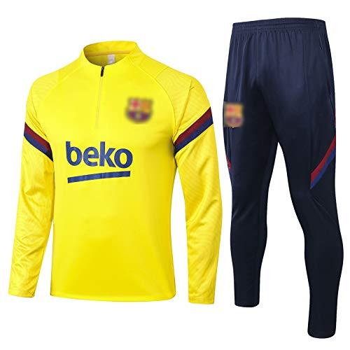 BVNGH Barcelona - Traje de entrenamiento para hombre, manga larga, camiseta de fútbol para hombre (tallas S-XXL), color amarillo
