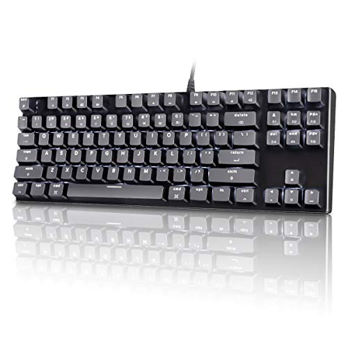 M87 Mac Layout Mechanical Keyboard, VELOCIFIRE 87-Key with Tactile Brown Switch, and LED White Backlit, Compatible with Mac (Black)