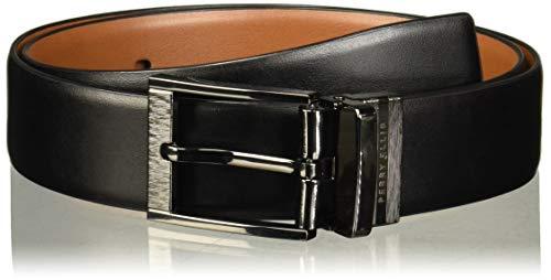 Perry Ellis Portfolio - Cinturón reversible con hebilla grabada para hombre con borde de pluma, suave al tacto, Negro/Marrón, 32
