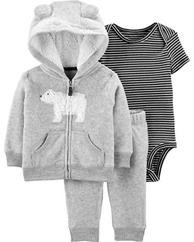 Carter's Baby Boys' 3-24 Months 3 Piece Polar Bear Print Little Jacket Set 12 Months, Gray