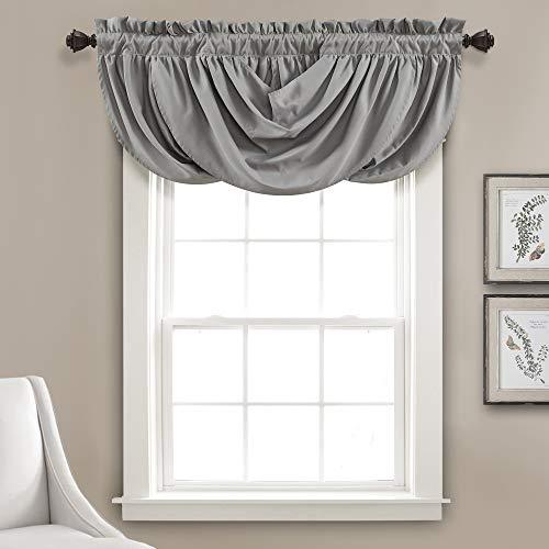 "Lush Decor Lucia Valance | Draped Soft Brushed Fabric, Window Kitchen Curtain (Single), 18"" x 42"", Gray"