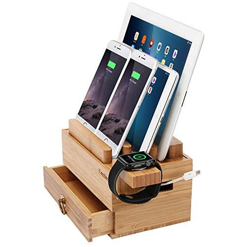 iCozzier, mini supporto in bambù con cassetto, stazione di ricarica multi-dispositivo e organizzatore per cavi, tablet e telefono, per Apple Watch, iPhone, iPad, smartphone e tablet