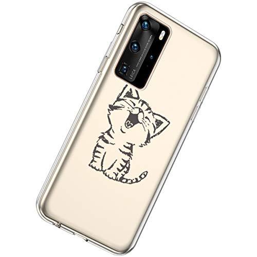 Herbests Kompatibel mit Huawei P40 Pro Hülle Silikon Weich TPU Handyhülle Durchsichtige Schutzhülle Niedlich Muster Transparent Ultradünn Kristall Klar Handyhülle,Lachende Katze