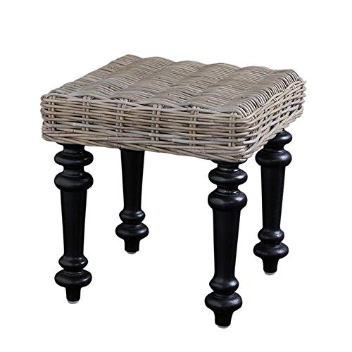 WSG Kruk Rattan Side Table Natural Grey Outdoor Seating Conservatory Garden Furniture Black Farmhouse Legs