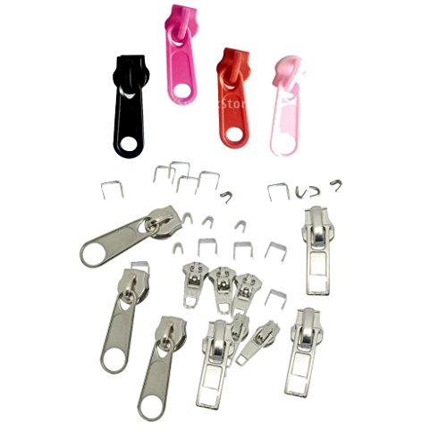 B Baosity 44 Piezas Kit de Reparación de Cremallera de Repuesto para Bolsa de Ropa Cremallera de Nailon de Metal Deslizante